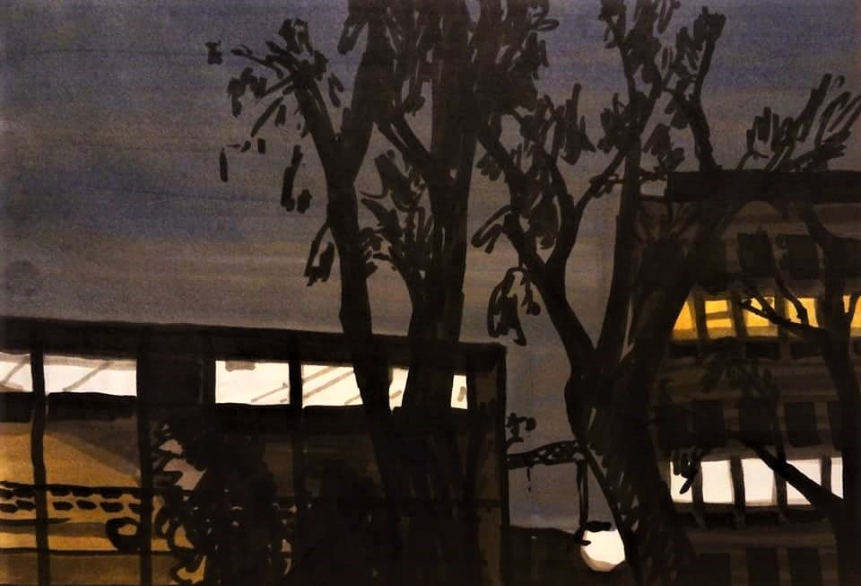בניין בחושך - ערב ברחוב התחייה 2016